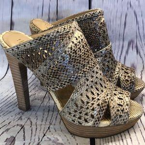BCBGmaxazaria faux snake tan laser sandal heels